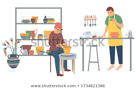 Hipster Man Making Pots From Clay Pottery Hobby Stock photo © robuart