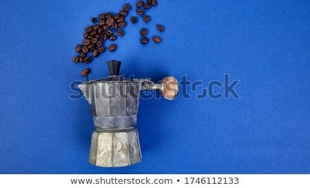 баннер кофеварка кофе синий тенденция бобов Сток-фото © Illia