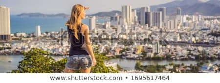 Vrouw toeristische stad reizen Vietnam meisje Stockfoto © galitskaya