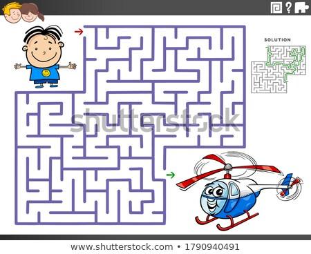 maze educational game with boy and toy helicopter Stock photo © izakowski