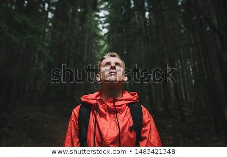 fiú · piros · kabát · arc · közelkép · szem - stock fotó © Paha_L