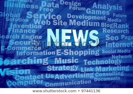 ニュース · 青 · バーチャル · スペース · 単語 · インターネット - ストックフォト © Ansonstock