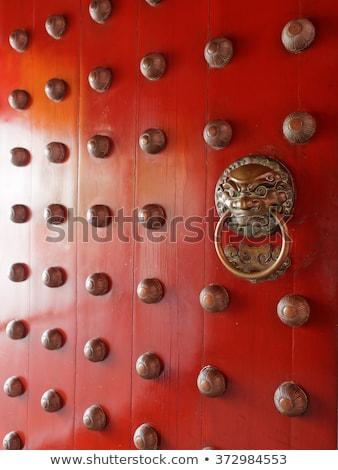 ancient red temple door stock photo © devon
