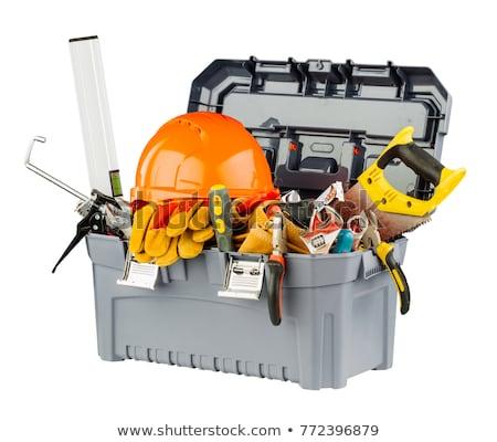 Caixa de ferramentas luvas isolado branco negócio trabalhar Foto stock © shutswis