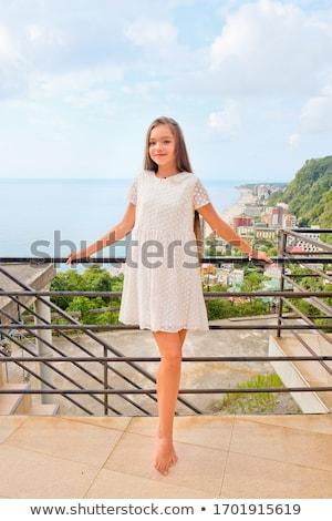 Teen girl odkryty twarz lata zielone nastolatek Zdjęcia stock © AndreyKr
