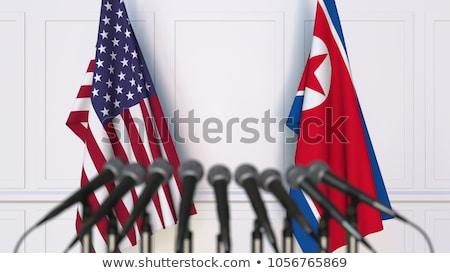 na · północ · banderą · grunge · ilustracja · czerwony - zdjęcia stock © leedsn