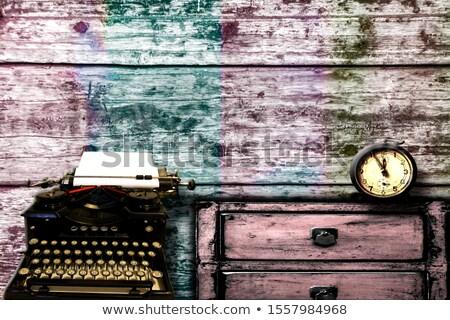 Riasztó kulcs öreg írógép grunge gomb Stock fotó © tashatuvango