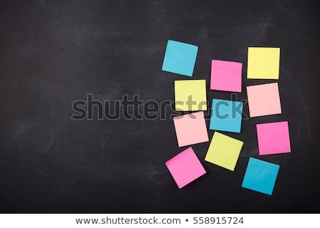 colorido · notas · adhesivas · pizarra · cuatro · verde · amarillo - foto stock © PixelsAway
