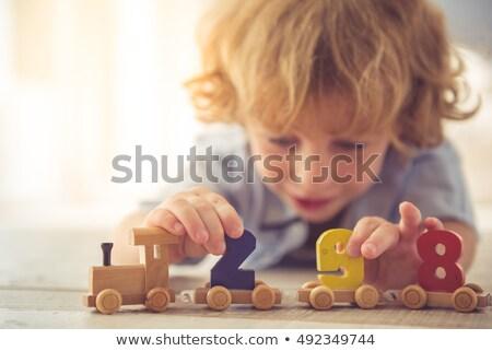 Baba néz fa játék kisgyerek játék stúdiófelvétel Stock fotó © gewoldi