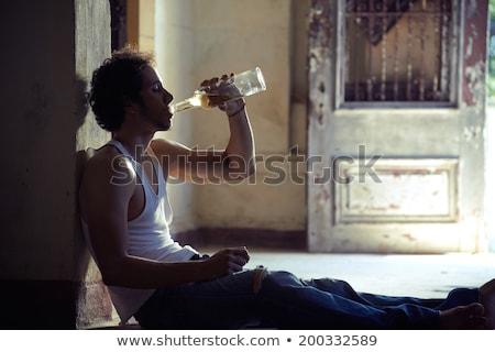 Portret pijany mężczyzna pitnej whisky ludzi Zdjęcia stock © diego_cervo