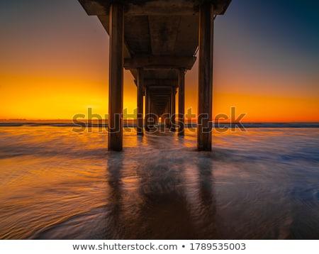 Siluet akşam karanlığı San Diego gün batımı deniz Stok fotoğraf © aspenrock