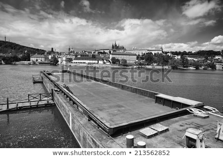 view on the spring prague gothic castle and big tugboat czech r stock photo © capturelight