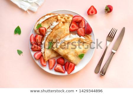 Foto stock: Crepe · comida · fundo · bolo · café · da · manhã · branco