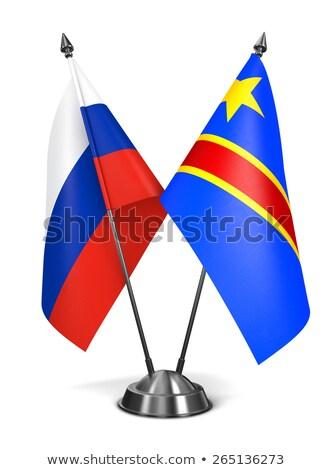 Россия республика Конго миниатюрный флагами изолированный Сток-фото © tashatuvango