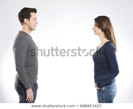 casual couple looking at each other stock photo © feedough