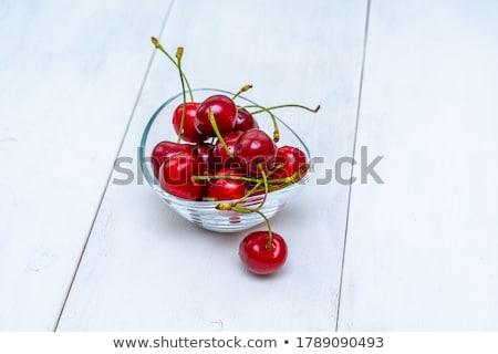 Dulce cereza vidrio tazón rústico mesa Foto stock © stevanovicigor