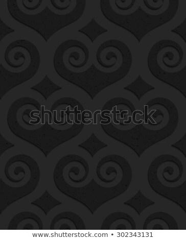 Black textured plastic swirly hearts with diamonds Stock photo © Zebra-Finch