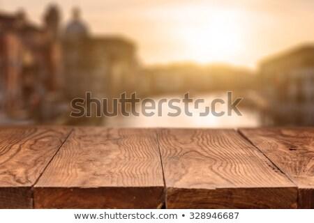 üres · asztal · felső · fa · asztal · naplemente · termék - stock fotó © artjazz
