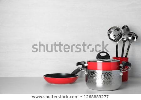 metal · sopa · cucharón · aislado · blanco · cocina - foto stock © ozaiachin