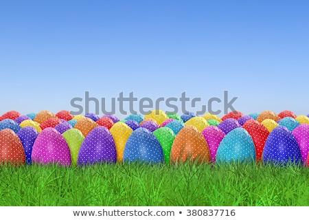 Easter egg hunt hasat grup dekore edilmiş yumurta eski Stok fotoğraf © Lightsource