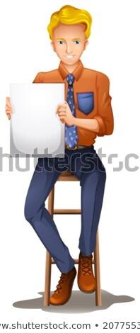 Dżentelmen posiedzenia w dół pusty biały Zdjęcia stock © bluering