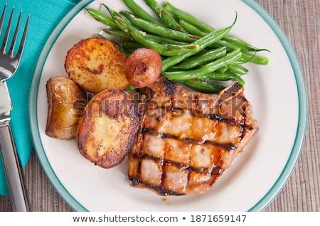 cerdo · chuleta · patatas · alimentos · cena - foto stock © digifoodstock