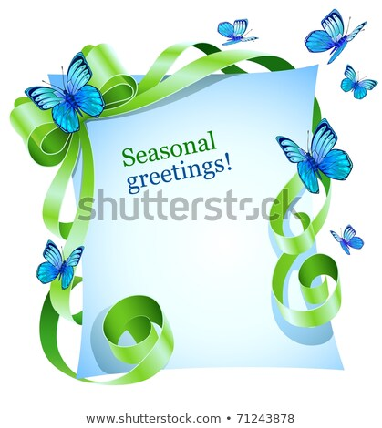 greeting card with green bow and blue butterfly Stock photo © LoopAll