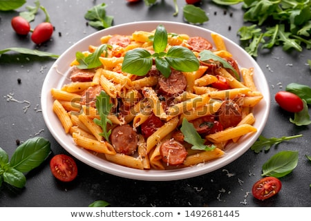 Fűszeres kolbász száraz fakanál étel hús Stock fotó © Digifoodstock