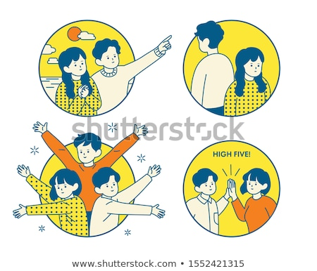 Simple coloured sketches of the Asian people Stock photo © bluering