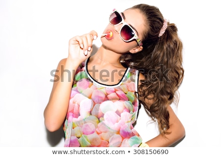 beautiful woman with lollipop isolated on white stock photo © elnur