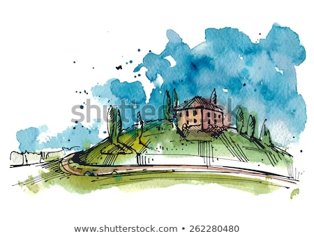 ink and watercolor sketch of hills stock photo © cidepix