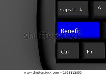 Toetsenbord Blauw voordelen 3D geschreven Stockfoto © tashatuvango
