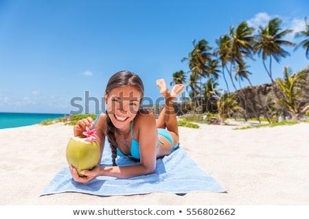 счастливым · напитки · солнечные · ванны · пляж · лет - Сток-фото © dolgachov
