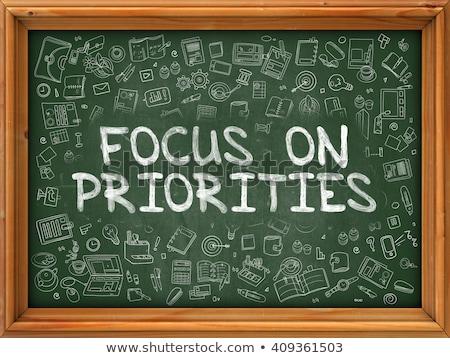 focus on priorities   green chalkboard stock photo © tashatuvango