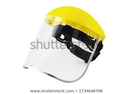 Műanyag védősisak kék fehér építkezés munka Stock fotó © magraphics