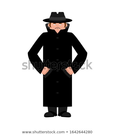 Spy in hat and coat isolated. Secret agent in cloak. Detective r Stock photo © popaukropa