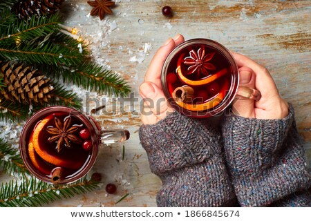 female hands holding mulled wine stock photo © OleksandrO