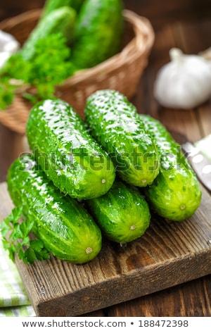 Taze salatalık ahşap masa sağlıklı gıda ahşap yaz Stok fotoğraf © Valeriy