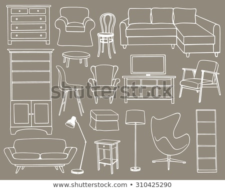 Sofa, bookcase, table with lamp. Linear sketch of the interior in a modern style. Stock photo © Arkadivna