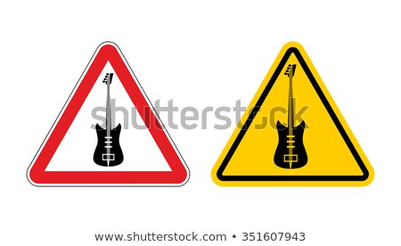 Warning sign attention to music. Guitar yellow label. Music tool Stock photo © popaukropa
