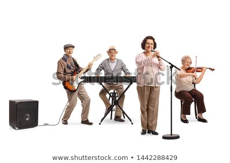 Senior Adult man playing violin to woman Stock photo © IS2