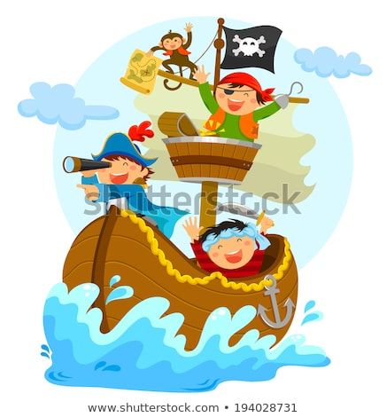 a pirate with happy kids on ship stock photo © bluering