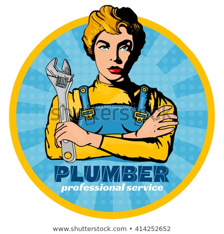 Stockfoto: Pop Art Woman Plumber Mechanic With Wrench