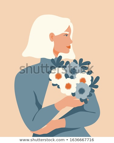 Blonde Woman with Presents, Flowers on 8 March Stock photo © robuart