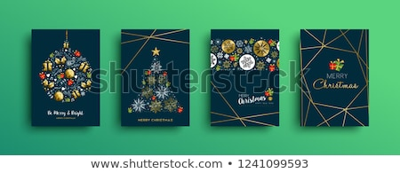Natal saudação cartões conjunto ouro alegre Foto stock © Voysla