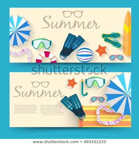 nyár · idő · vízszintes · bannerek · tengerpart · virágok - stock fotó © Linetale