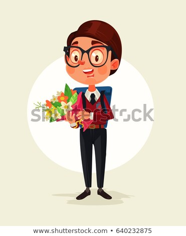 schoolboy with backpack on his back and with flowers in hand vector isolated illustration stock photo © pikepicture