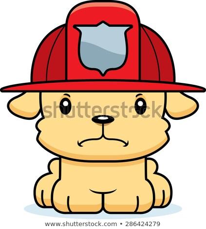 Desenho animado zangado bombeiro cachorro olhando animal Foto stock © cthoman
