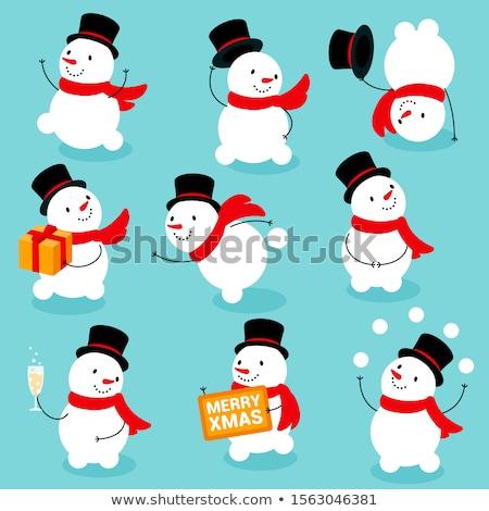 かわいい 雪だるま 挨拶 帽子 冬 空 ストックフォト © liolle