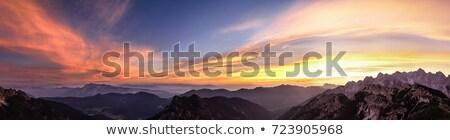 Panorama pôr do sol montanhas floresta grama verde grande Foto stock © vapi
